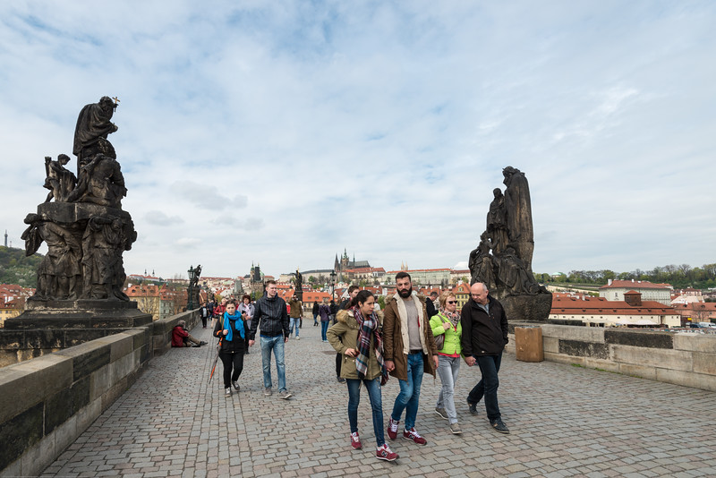Charles Bridge, Karlův most Prague, Czech Republic is very popular and always full of people.