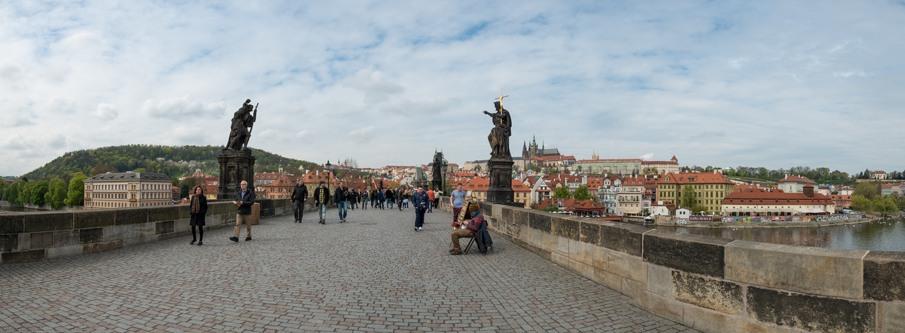 Panoramic view of Charles Bridge, Prague (Praha), Czech Republic.