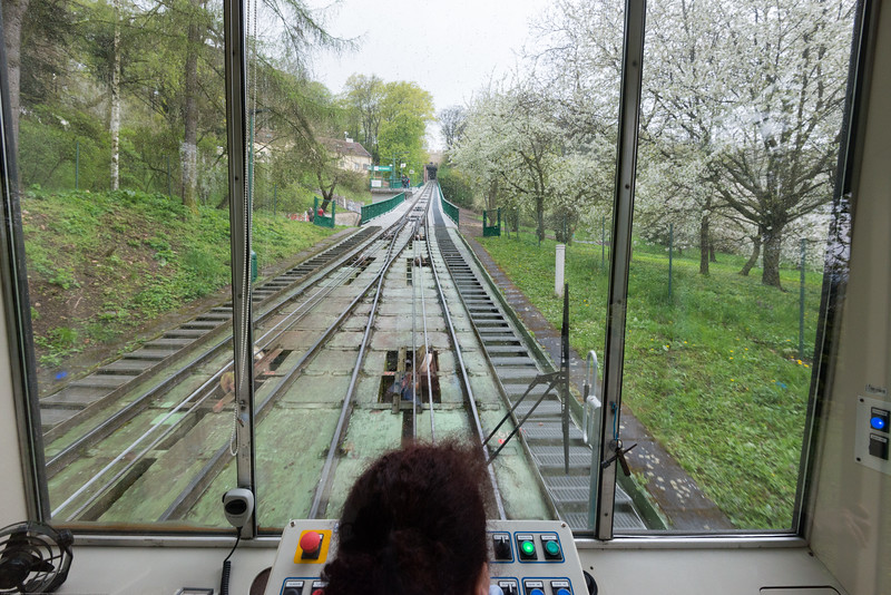 Petrin Hill Funicular Railway, Prague, Czech Republic. Petřín is a hill in the center of Prague, Czech Republic. It rises some 130 m above the left bank of the Vltava River. The hill, almost entirely covered with parks, is a favorite recreational area for the inhabitants of Prague.