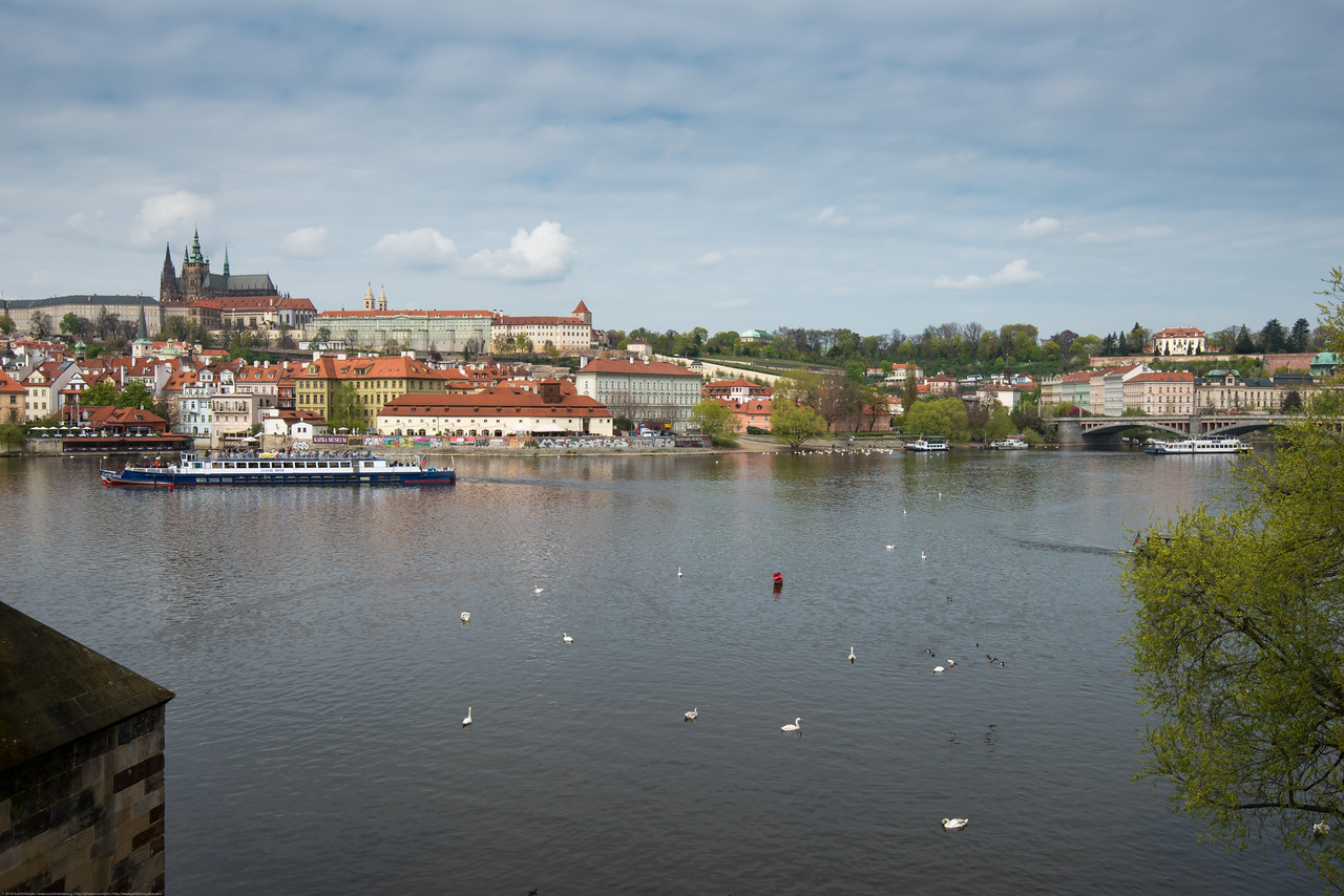 Vltava river, Prague, Czech Republic seen from Charles bridge.