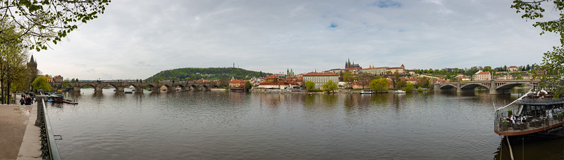 Panoramic view of Vltava, Prague (Praha), the longest river in Czech Republic. Running southeast along the Bohemian Forest and then north across Bohemia, through Český Krumlov, České Budějovice and Prague, and finally merging with the Elbe at Mělník.