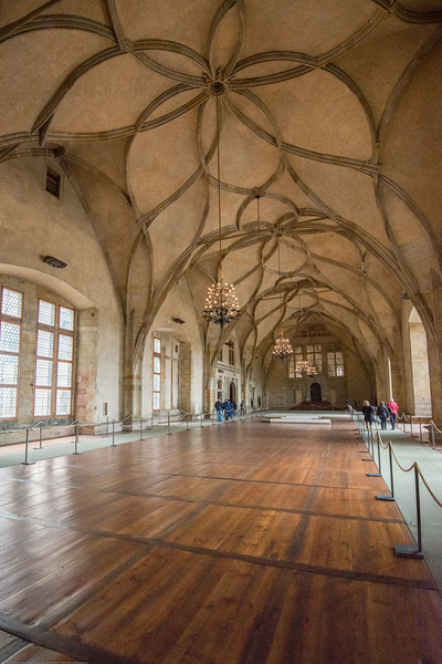 Inside Old Royal Palace, Prague, Czech Republic. Late Gothic palace in Prague Castle, with Renaissance elements & Vladislav Hall for royal events.