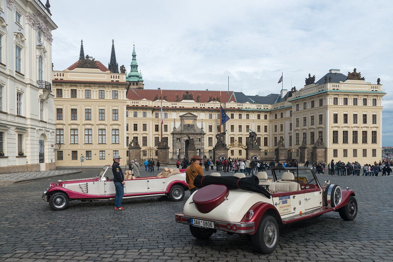 Old cars can be hired to get a ride at Prague Castle. Prague, Czech Republic.