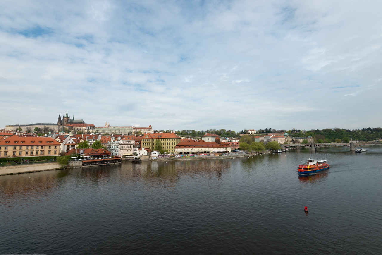 View of Vltava river from Charles Bridge, Prague (Praha), Czech Republic.