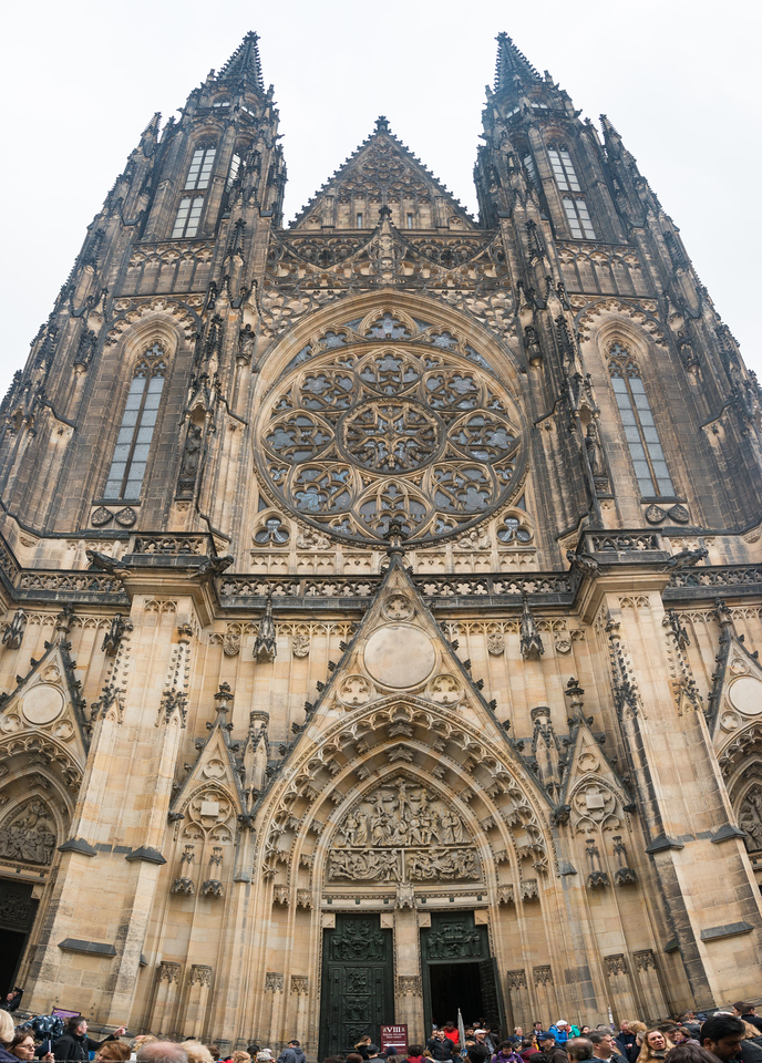 Entrance to St. Vitus Cathedral, Prague, Czech Republic. Gothic resting place of saints including Vitus, Wenceslas & Adalbert as well as the state treasury.