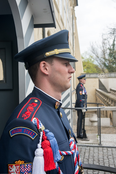 Smart looking guards at the Prague Castle entrance, Czech Republic.