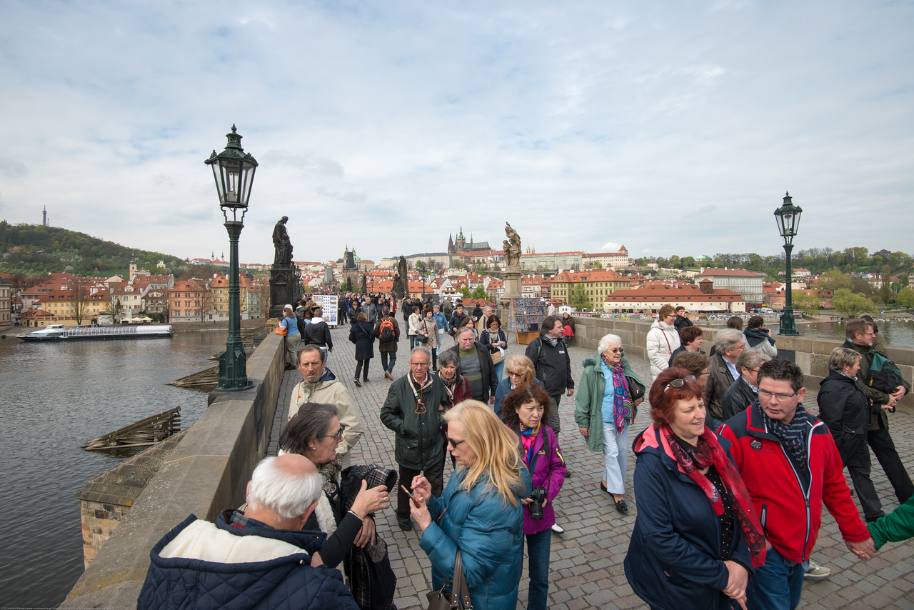 Charles Bridge, Karlův most Prague, Czech Republic is always full of people.