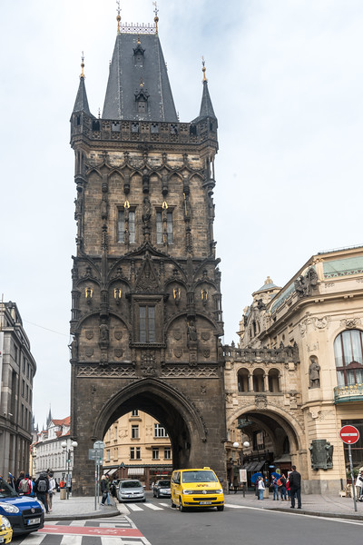 The Powder Tower, City gate built in the 15th century and restored after being damaged in the Battle of Prague. The Powder Tower or Powder Gate is a Gothic tower in Prague, Czech Republic. It is one of the original city gates, dating back to the 11th century. It separates the Old Town from the New Town.