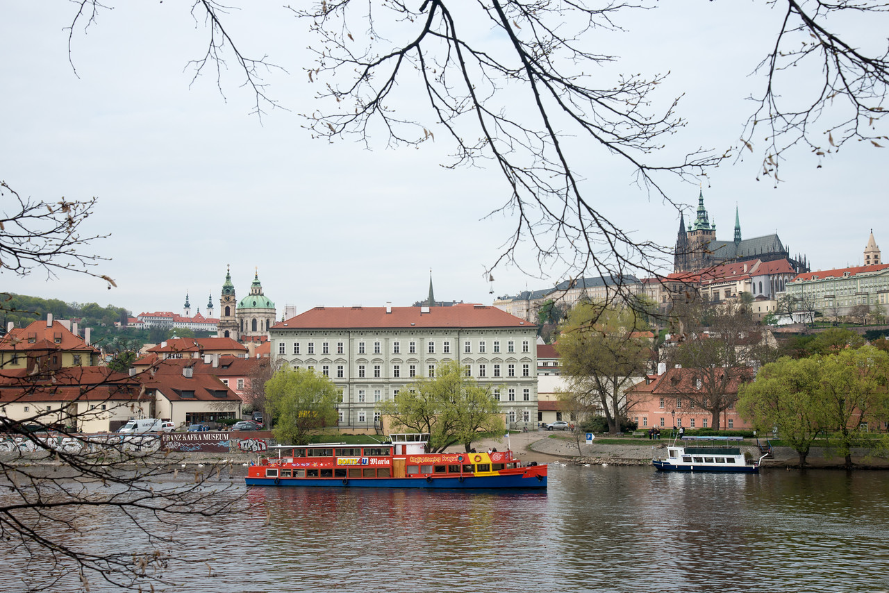 View from the banks of river Vltava, Prague, Czech Republic.