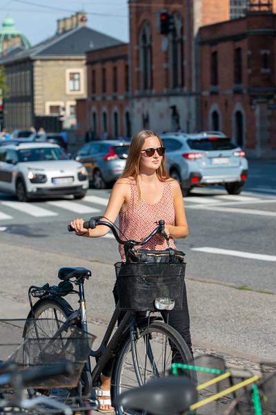 Cycling is popular in the city. Shot near Copenhagen Central Station, Københavns Hovedbanegård. Copenhagen, København, Denmark.