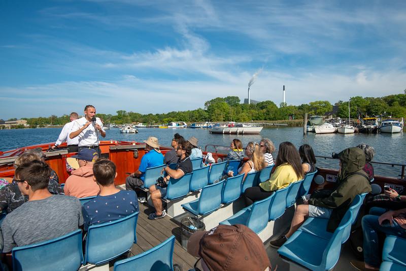 Copenhagen Canal Tour guide on the boat. Copenhagen, København, Denmark.