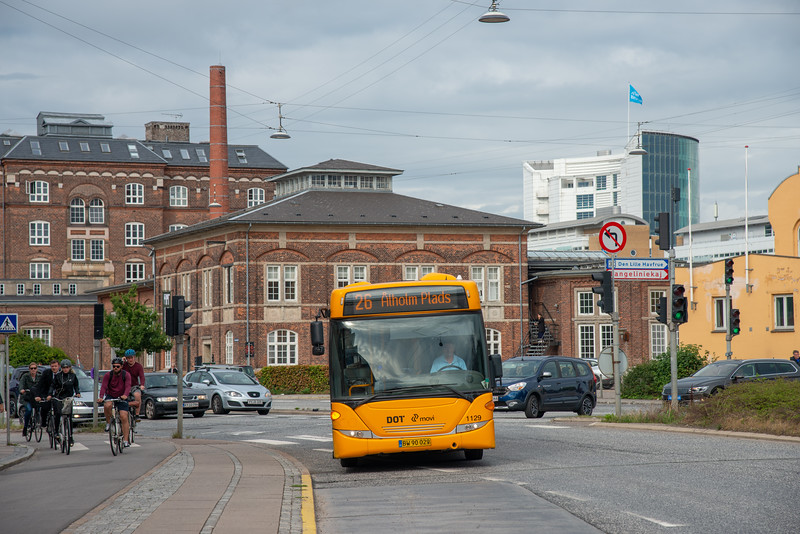 At the bus stop at Folke Bernadottes Allé, København Ø, Denmark
