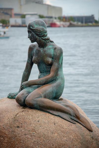 The Little Mermaid, Den Lille Havfrue, Langelinie, København, Copenhagen, Denmark. Iconic bronze mermaid sculpture, by Edvard Eriksen, of a character from H.C. Andersen's fairytale.