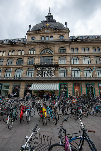 Magasin Du Nord, high end shopping mall at Kongens Nytorv, København, Denmark.<br /> <br /> Magasin is a Danish chain of department stores. The company traces its roots back to 1868 when Theodor Wessel and Emil Vett opened a draper's shop in Aarhus under the name Emil Vett & Co. It was an immediate success and in 1871 moved to Immervad where the Aarhus store is still located.