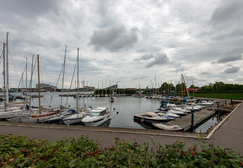 Langelinie Marina, along the waterfront harbour opposite Seafarers monument, Søfartsmonumentet, København, Copenhagen, Denmark.