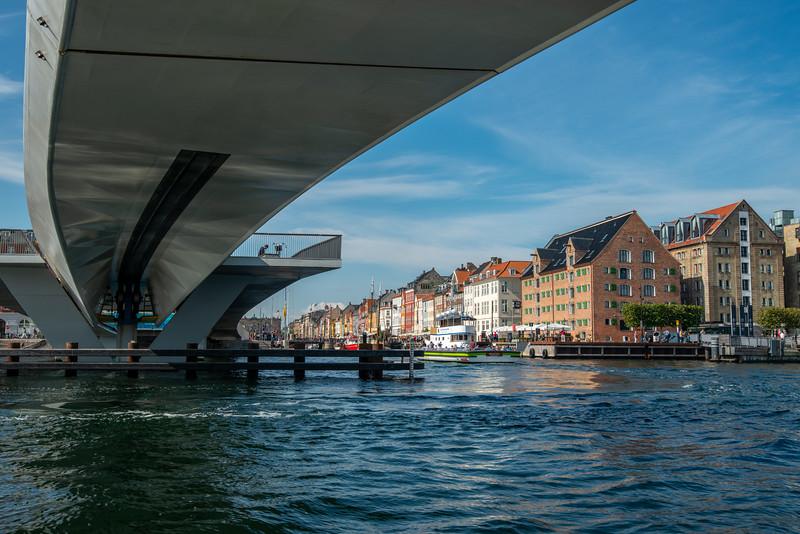 Inderhavnsbroen bridge near Nyhavn (Københavns Havn). Copenhagen, København, Denmark.