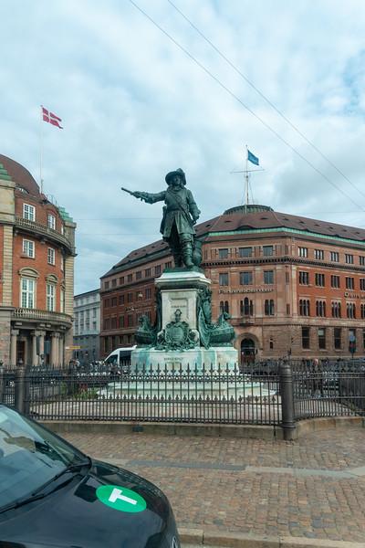 King's New Square<br /> (Kongens Nytorv) - landmark cobble-stoned square dating to 1907, containing a royal equestrian statue of Christian V. Copenhagen, Denmark, Scandinavia.