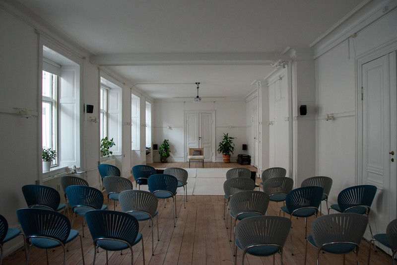 Meditation Hall for satsang at SRCM (Shri Ram Chandra Mission), Sahaj Marg Ashram, Copenhagen, Denmark.