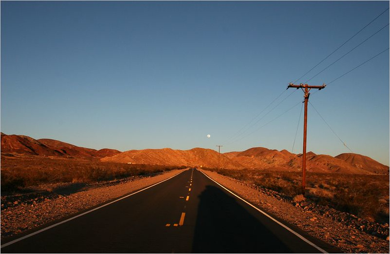 The entrance to Calico Road, near Barstow, California<br /> (late evening in winter)