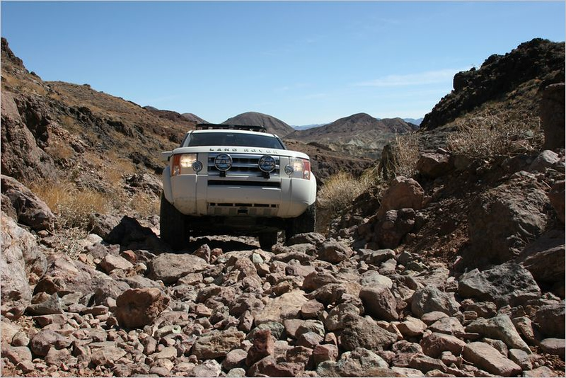 Nathan's LR3 navigating through the rocks.  This used to be paved about 90 years ago!