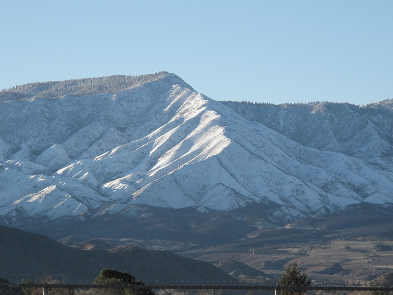 The hills towards Tehachapi, CA, covered in snow!