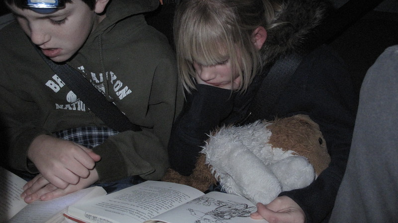 Reading by headlamp on the way home