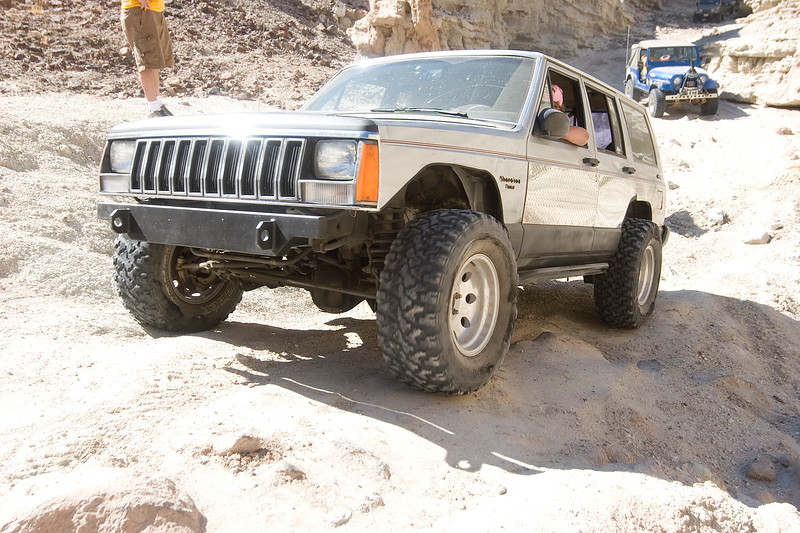 An XJ in the middle of metamorphis.  Still unlocked, no lift, but its all coming soon!