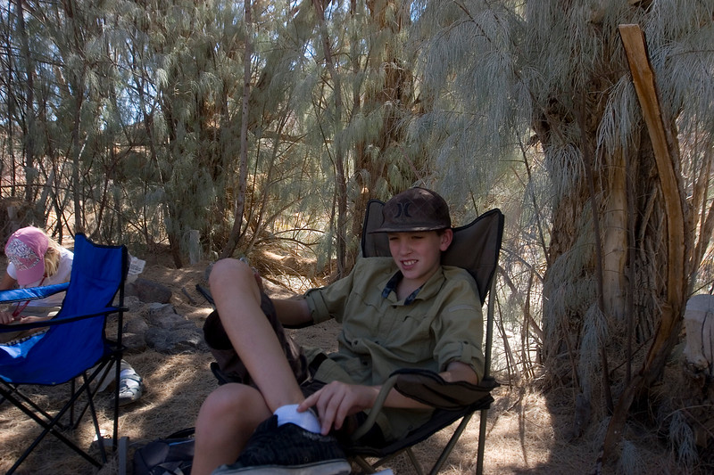 Kicking back at Camp Cudehay (sp?) in Last Chance Canyon