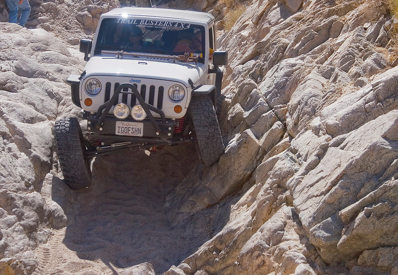 "Trip leader Al ""IGOFSHN""  takes the first run through the V-Notch in his 4 door JK"