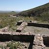 """""""restored"""" ruins of Ft. Piute, looking east."""