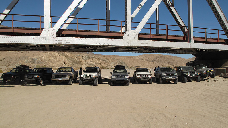 Afton Canyon lunch stop.  From RIGHT to left:<br /> Bruce (Luk4Mud) Land Cruiser 80<br /> Bruce (SlimTwo) Jeep TJ<br /> Chris (CDBradley) 4Runner<br /> Rex (Rexsname) Tacoma<br /> Joe (Modelbuilder) Jeep Grand Cherokee WJ<br /> Marni's Jeep LJ<br /> John's Chevy truck<br /> Robin's Land Cruiser 80<br /> Chris (MudButt's) Jeep Cherokee XJ