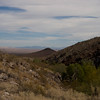 Looking east from Ft. Piute, past Jed Smith Butte, towards the Mojave Trail and the Dead Mountains in the far distance
