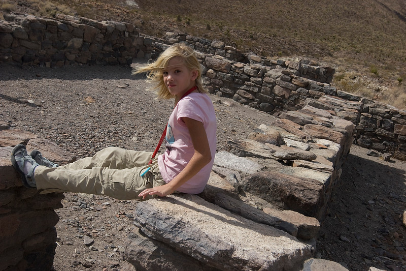 Megan looking stylish sitting on the foundations of Ft. Piute