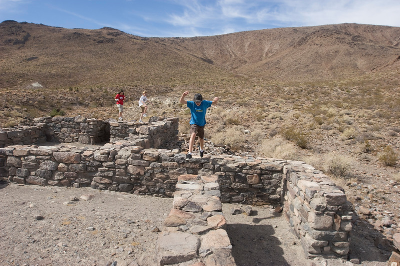 Running and jumping and enjoying the reconditioned ruins of Ft. Piute