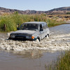 Robin's 80 series wading through the final water crossing in Afton Canyon