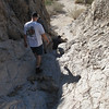 Hiking through granite waterfalls of Painted Canyon, near the beginning of Mojave trail
