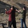 Greg and Lehi shooting cowboy style
