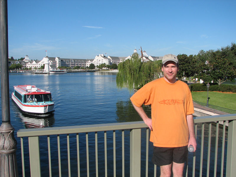 Bill & I made a 'power walk' around the boardwalk; the Yacht Club is in the background.