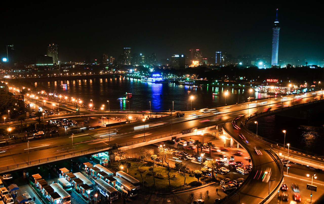 View of the Nile as it flows through the city of <br /> <br /> Cairo. Egypt, 2010.