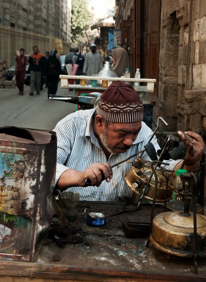 Street scene behind the Al-Azhar Mosque Cairo.<br /> <br /> Egypt, 2010.