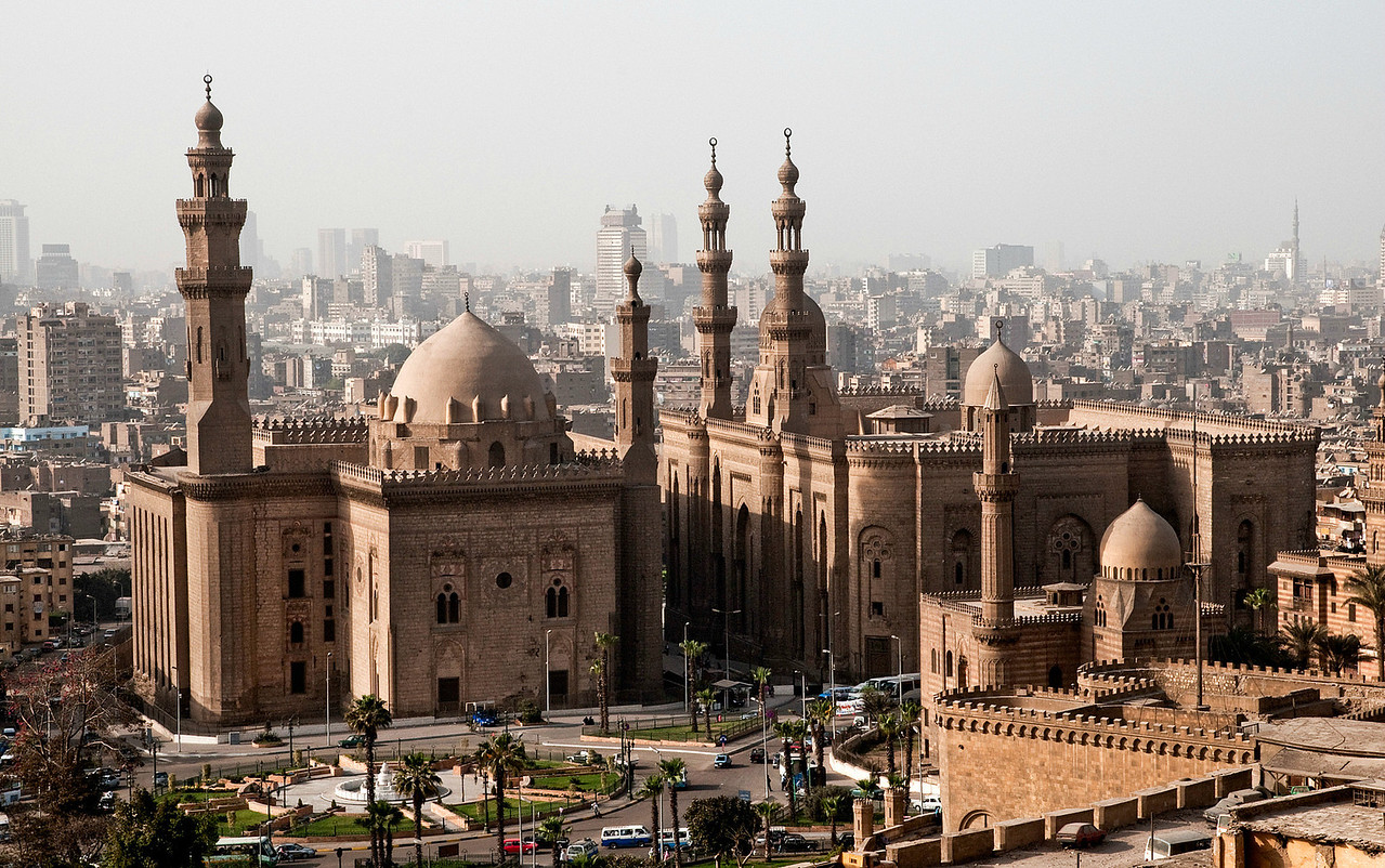 Mosque of Mahmoud Pasha as seen from the Citadel. <br /> <br /> Cairo, Egypt, 2010.