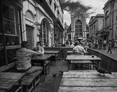 Street scene in the old city of Bath.  Bath, England, 2018