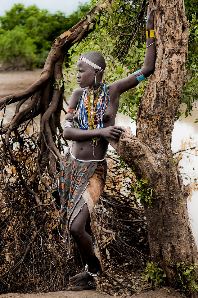 young woman from the Arbore tribe.<br /> <br /> Omo Valley, Southern Ethiopia, 2013.