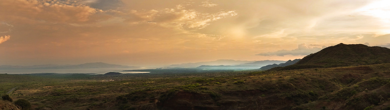 View of lake Chamo and the surrounding countryside. <br /> <br /> Southern Ethiopia, 2013