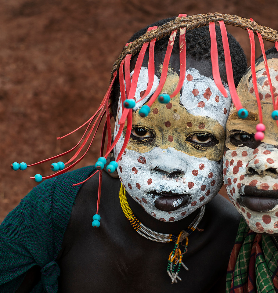 Two young Suri boys.<br /> <br /> Southern Ethiopia, 2017.