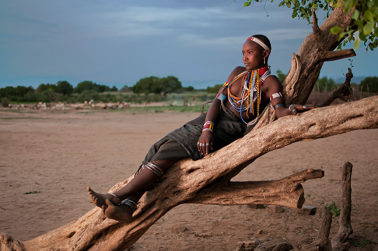 Young woman from the Arbore tribe.<br /> <br /> Omo valley, south Ethiopia, 2013.