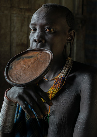 It is uncertain how this bizarre custom of wearing a lip plate came into being. One theory is that lip plating originated as a deliberate disfigurement designed to make women and young girls less attractive to slave traders. Some researchers claim that the size of the lip plate (the bigger the better) was a sign of social importance or wealth within the tribe. Another analysis indicated that the bigger the size of the lip plate, the bigger the dowry a bride would receive on her wedding day. For example, the larger the lip plate, the greater number of cows the bride's father can demand in his daughter's dowry. But some researchers dispute this theory, arguing that marriage of most tribal girls, as well as the size of their dowries, is prearranged long before their lips are cut. Others suggest that lip plating is simply an ornamentation meant to symbolize a woman's strength and self-esteem. The practice is also described as being a sign of social maturity and reaching reproductive age, thus indicating a girl's eligibility to become a wife.  Suri, South Ethiopia, 2017.