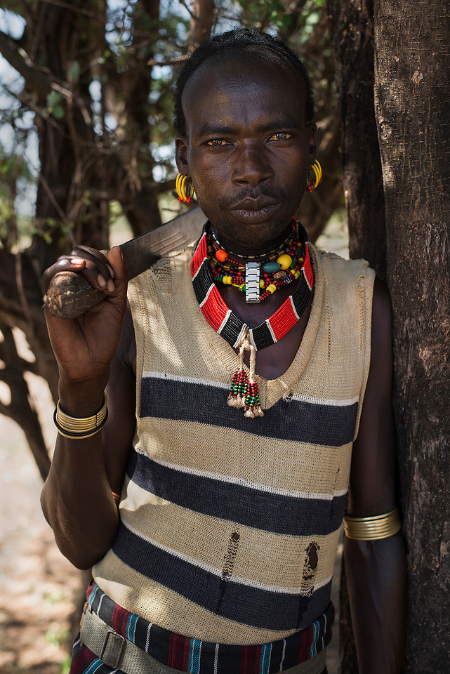 Portrait of a Man from the Hammer tribe.<br /> <br /> Omo Valley, Ethiopia, 2017