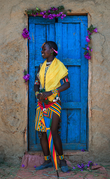 A young Bena woman photographed at a food market close to key Afer.<br /> <br /> Omo Valley, Ethiopia, 2017