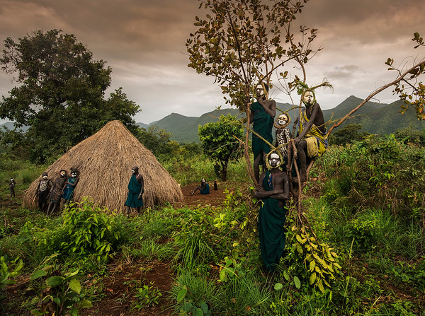 The economy of the Suri is based on agriculture. To name a few of the crops planted are cabbage, beans, yams, tobacco and coffee. During the dry season, the Suri also collect honey. The Suri pan gold to make pots in nearby streams which was later used in trade with the Juye and Murle. Trades are also made between the Suri and the Ethiopian highlanders, Amhara and Shangalla. Rifles and weapons are traded with Amhara and Shangalla as are leopard and lion skin, giraffe tails, honey and ivory.  The average male in the Suri tribe owns somewhere between 30 and 40 cows. These cows are not usually killed unless they are needed for ceremonial purposes. Every young male is named after their cattle, which they are ruled to look after. Cows are tremendously important to the Suri, and at times Suri risk death to protect their herd; Suri men are judged by how much cattle they own. In desperate times, Suri men risk their lives to steal cattle from other tribes. Men also are not allowed to marry until they own 60 cows. These cows are given to his wife's family after the ceremony. To praise their cattle or mourn their deaths, the Suri sing songs for them.  Southern Ethiopia, 2017